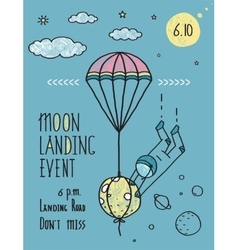 Sky planets stars cosmonaut moon flight line art vector