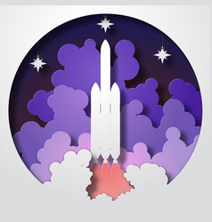 Space rocket startup paper cut style vector