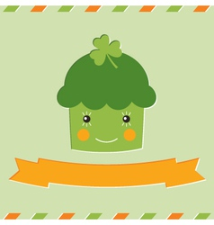 St patricks day cupcake card vector