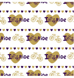Stylish hand drawn seamless pattern with bikes vector