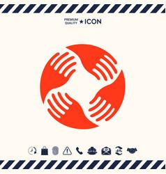 teamwork hands logo human connection vector image
