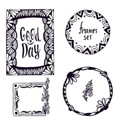 Tribal frame set Hand-drawn doodle design vector image vector image