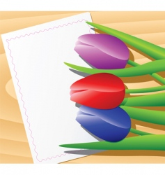 tulips on wooden background vector image vector image