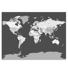 world map in four shades of grey on dark vector image