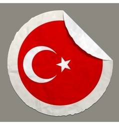 National flag of turkey on a label vector