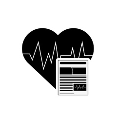 Heart cardiogram and medical history icon vector