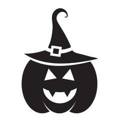 Cute halloween black pumpkin with hat vector