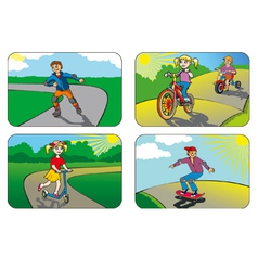 Children on wheels vector image