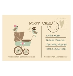 Vintage cute baby shower greeting postcard vector