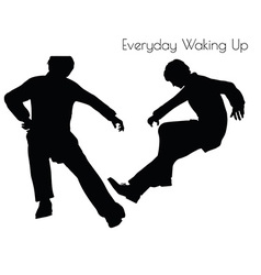 Man in everyday waking up pose vector