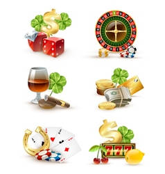 Casino symbols attributes 6 icons set vector