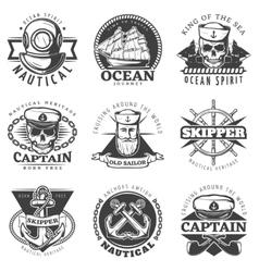 Vintage sailor naval label set vector