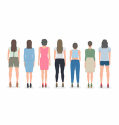group of women from back vector image