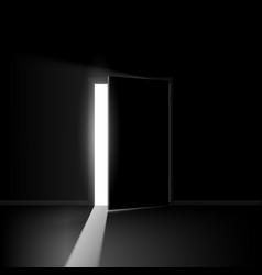 Open door on black background for creative design vector