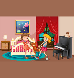 two girls fighting in bedroom vector image