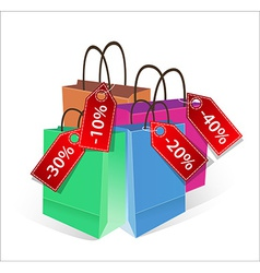 Shopping bags with discount labels vector