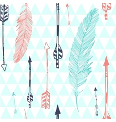 Seamless pattern with feather and arrows vector