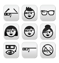 Google glass buttons set vector
