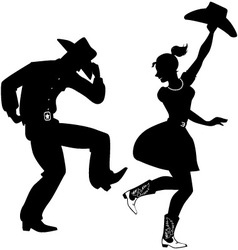 Silhouette of country-western dancers vector