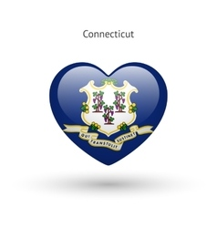 Love connecticut state symbol heart flag icon vector
