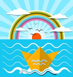 Flat design paper boat and ocean with rainbow vector
