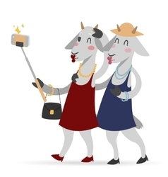 Selfie photo goat girls couple frinds vector