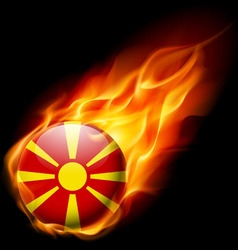 Round glossy icon of macedonia vector