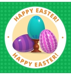 Happy easter poster three blue eggs vector