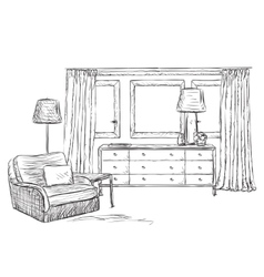 Room interior sketch window and furniture vector