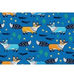 Cute seamless pattern with foxes vector