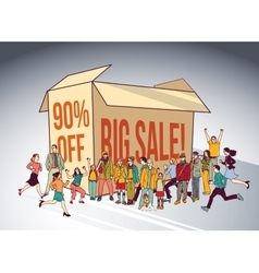 Sale box group people shopping discount run happy vector