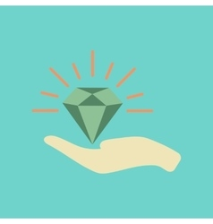 Flat icon on stylish background poker diamond in vector
