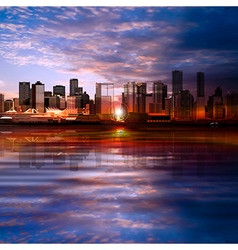Abstract evening background with panorama of city vector