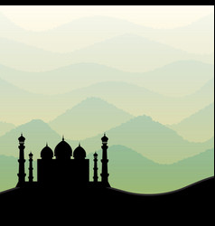 background with mosque silhouette vector image