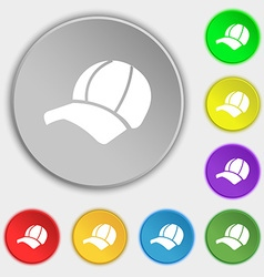Ball cap icon sign Symbol on eight flat buttons vector image