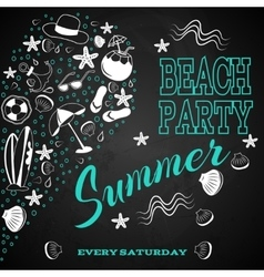 beach party on chalk board vector image