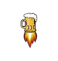 Beer mug rocket ship blasting retro vector