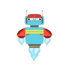 Blue and red friendly android robot character vector