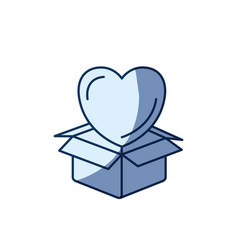 Blue color silhouette shading of heart coming out vector