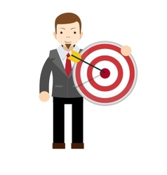 Business man holding big aim target vector