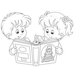 Children reading vector image vector image
