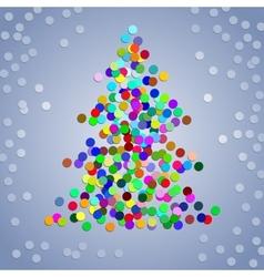 Christmas colorful confetti tree vector