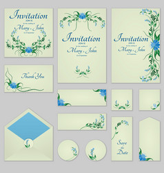 Collection greeting cards with stylized bells can vector
