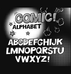 Comic retro black and white alphabet halftone vector