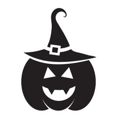 Cute halloween black pumpkin with hat vector