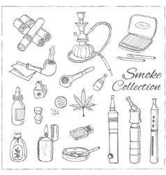 Doodle retro smoke set with hookah vape cannabis vector