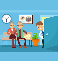 elderly couple and cat at veterinarian vector image