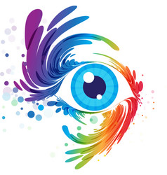 Eye art and splash eyelashes on white background vector