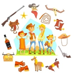 Family dressed as cowboys surrounded by wild west vector