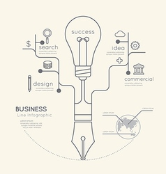 Flat linear infographic business education pen vector